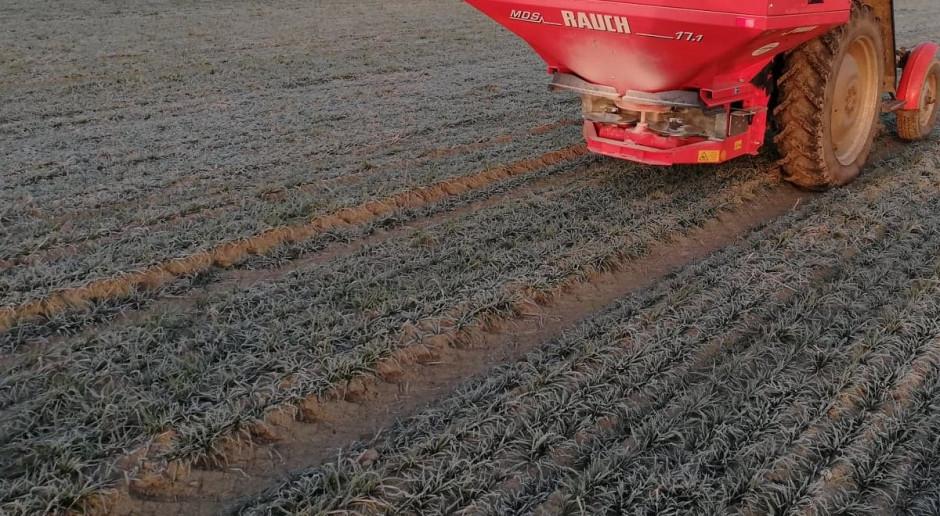 Był przymrozek – pojawiły się rozsiewacze nawozów na polach