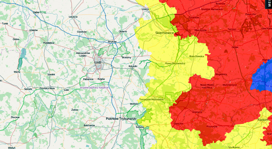 Łódzkie: trzy gminy w strefie czerwonej, rozszerzona strefa żółta