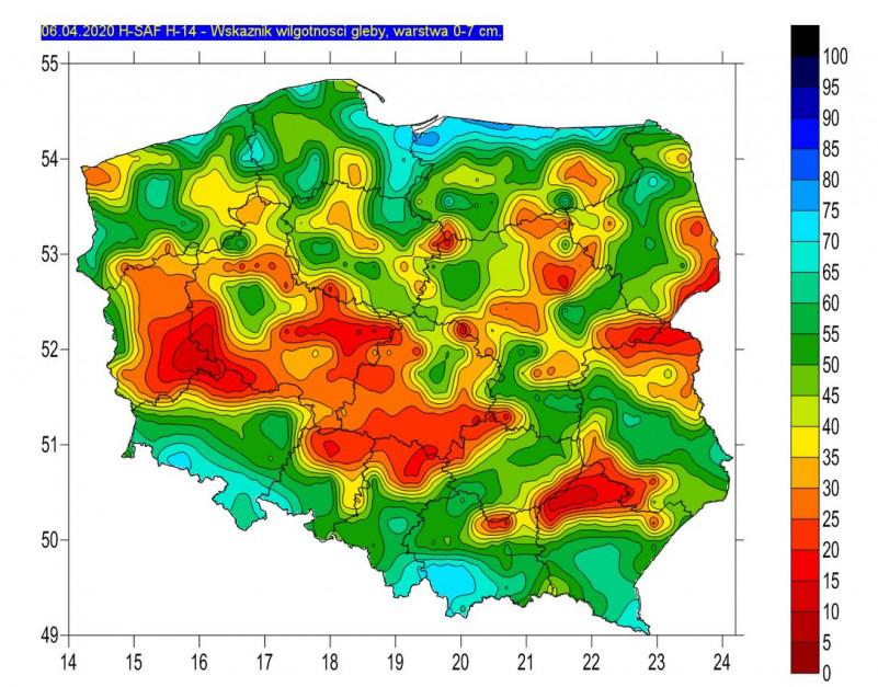 Wilgotność gleby na głębokość 0-7 cm, źródło: IMGW-PIB