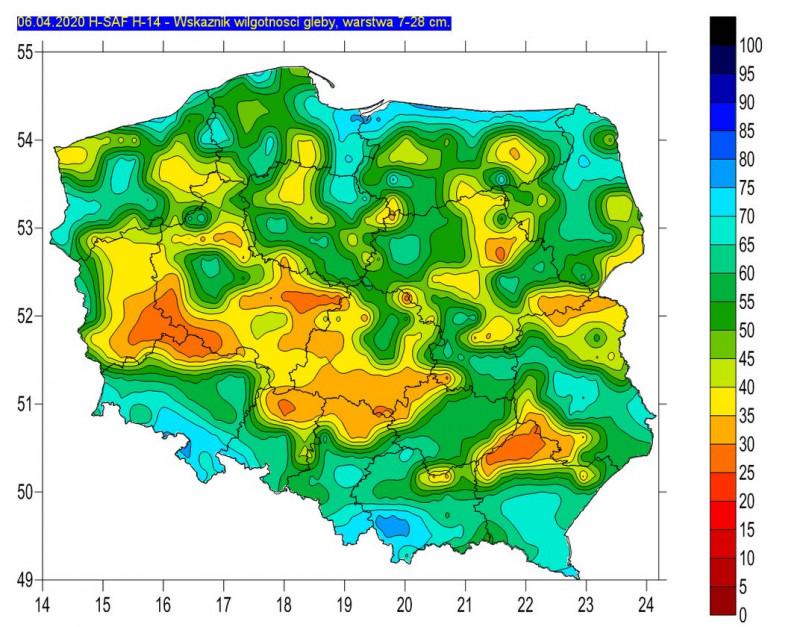 Wilgotność gleby na głębokość 7-28 cm, źródło: IMGW-PIB