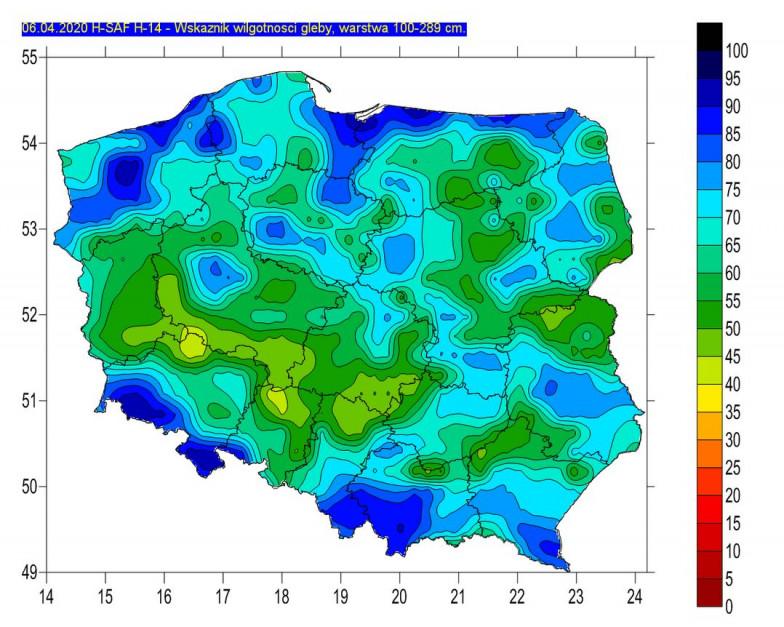 Wilgotność gleby w jej głębszych warstwach, źródło: IMGW-PIB
