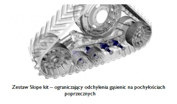 Zestaw Slope kit – ograniczający odchylenia gąsienic na pochyłościach poprzecznych