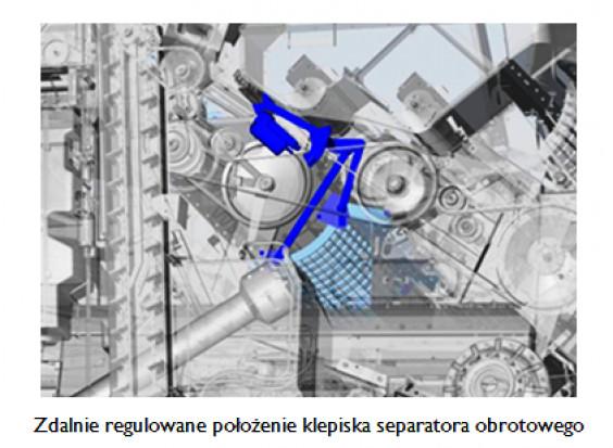Zdalnie regulowane położenie klepiska separatora obrotowego