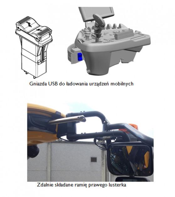 Gniazda USB do ładowania urządzeń mobilnych i zdalnie składane ramię prawego lusterka