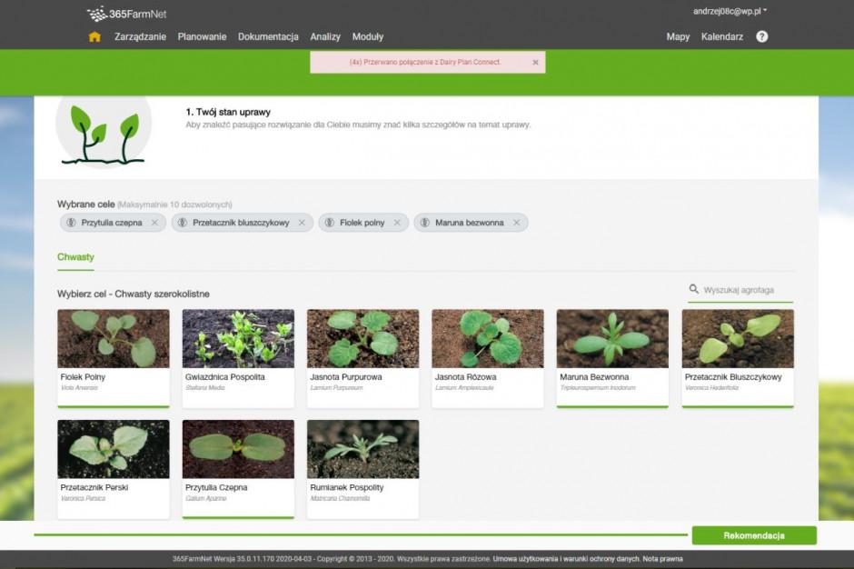 Z bazy agrofagów AgSolutions Finder wybieramy te, które aktualnie występują na danym polu, fot. 365FarmNet