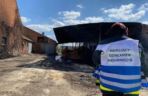 Obok budynku paliły się trociny składowane pod wiatą, Fot. OSP Krotoszyn