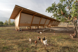 W zamyśle projektowym inwestor chciał, aby architekci zaprojektowali funkcjonalne schronienie dla zwierząt hodowlanych, ale tak aby nawiązywało ono swoją stylizacją oraz użytymi materiałami do otaczającej natury. Foto. Alí Taptik