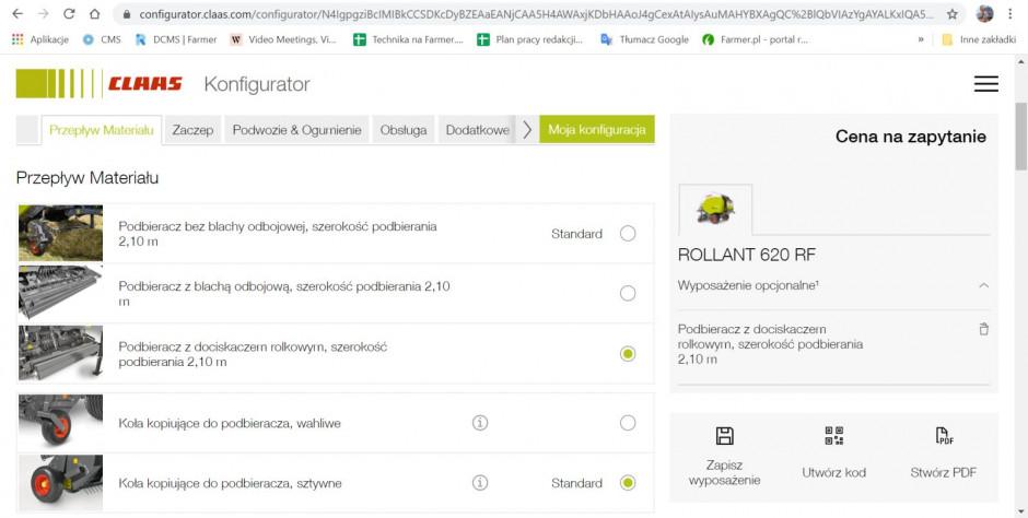 Strona z konfiguracji prasy Claas Rollant 620 RF, fot.kh