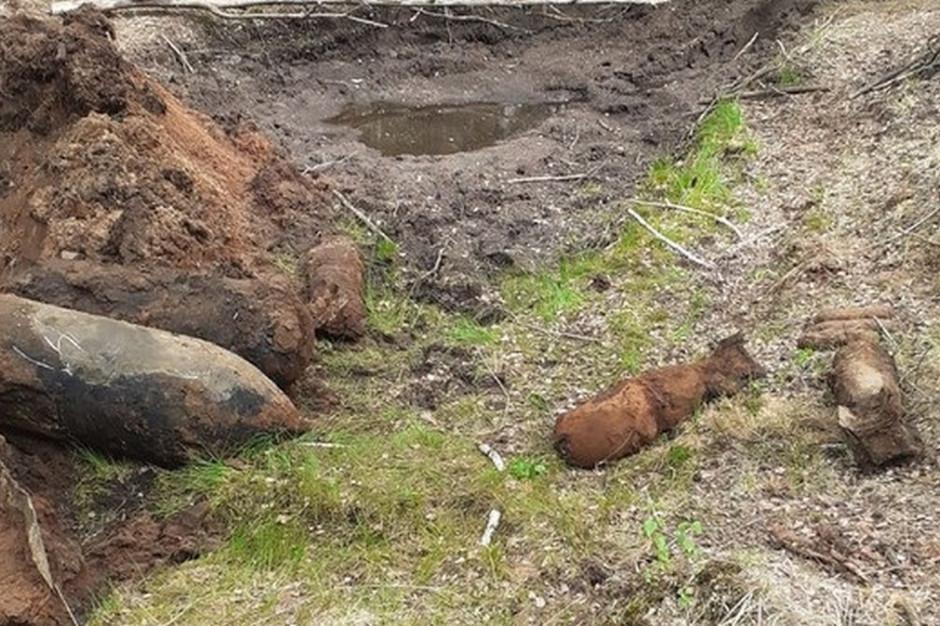 Wykryto 25 pocisków rożnego kalibru, Foto: Nadleśnictwo Mińsk
