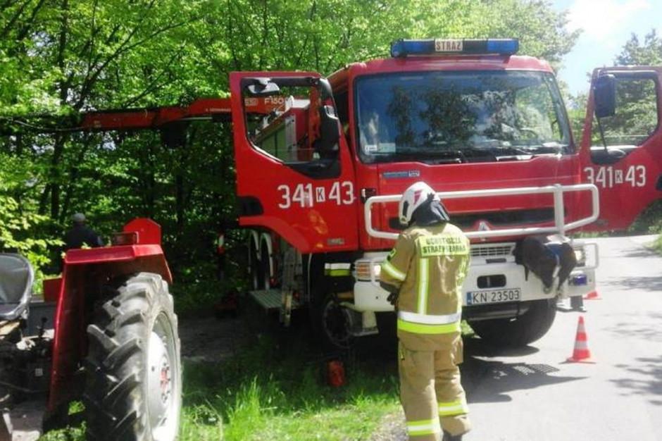 Krowę ratowały z opresji dwa zastępy strażaków, zdjęcia: KP PSP Nowy Sącz