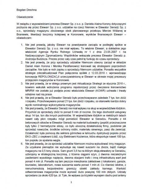 Oświadczenie Bogdana Drechny