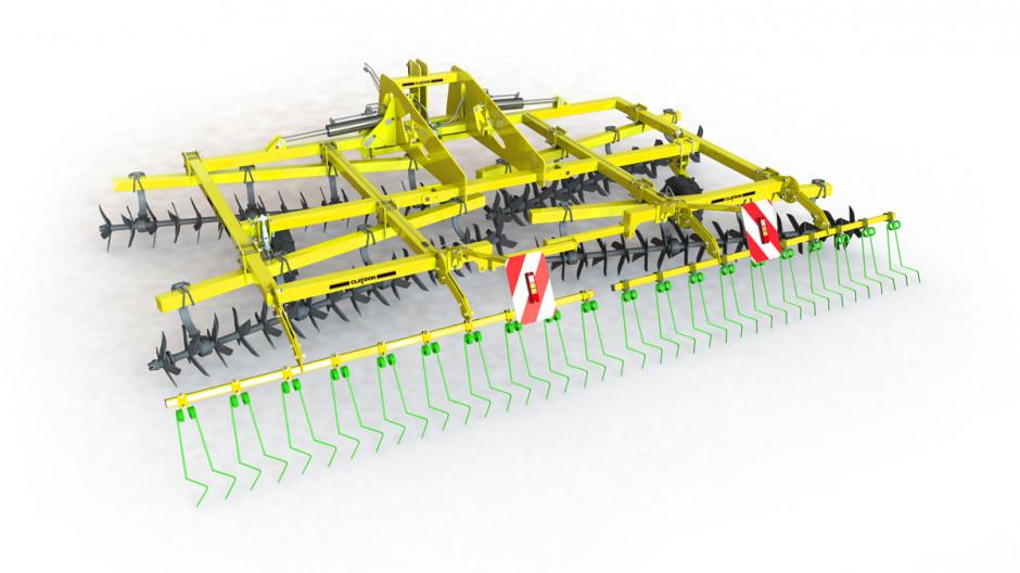 Terrastar to maszyna o bardzo prostej konstrukcji, elementy robocze są umieszczone na czterech osiach, z tyłu można ją wyposażyć w belkę ze sprężynami zagarniającymi