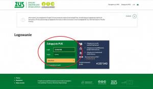 Możemy się wreszcie zalogować do naszego profilu PUE ZUS przy użyciu loginu wysłanego na maila przez ZUS oraz przy użyciu poufnego hasła, które wcześniej  wprowadziliśmy podczas rejestracji na profil PUE ZUS. Foto. Radosław Zieniewicz