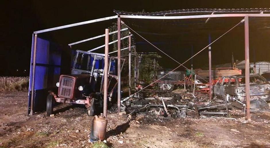 Ogromne straty w pożarze i poparzony rolnik