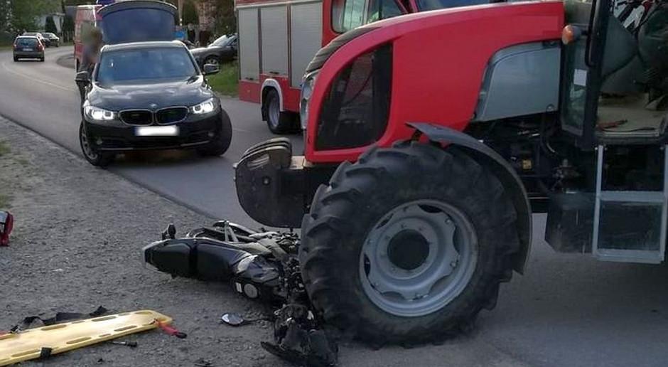 Zderzenie ciągnika z motocyklem