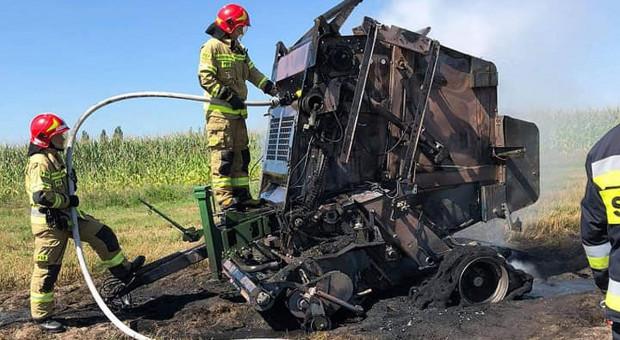 Pożary pras i ścierniska, ucierpiał rolnik