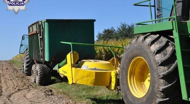 Wypadek przy zbiorze kukurydzy
