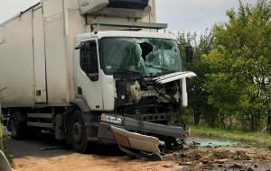 Kabina ciężarówki została wskutek kolizji całkowicie zniszczona, Foto: OSP Otmuchów