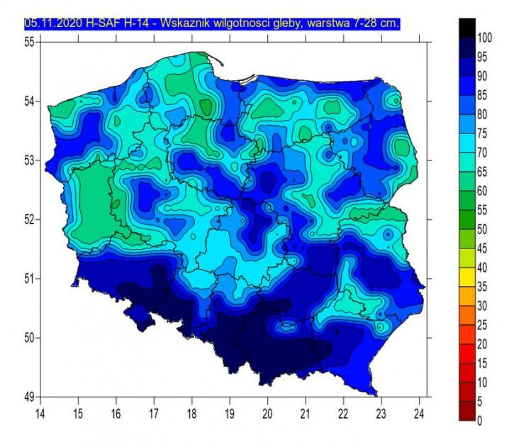 Wskaźnik wilgotności 7-28 cm, Źródło: IMGW-PIB