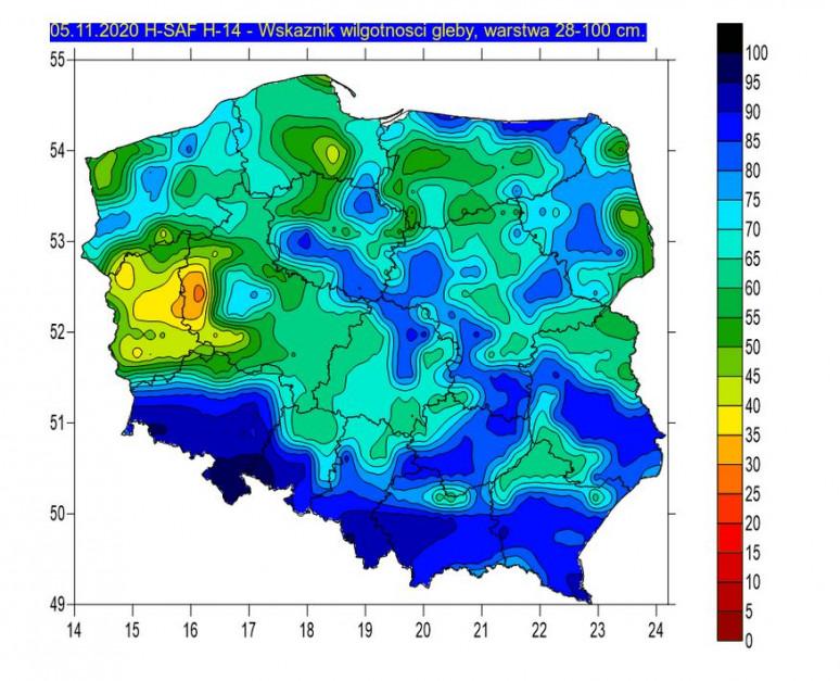 Wskaźnik wilgotności 28-100 cm, Źródło: IMGW-PIB