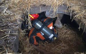 Strażacy wypompowali gnojówkę a pompowali do kanału powietrze, by zwierze nie zatruło się wyziewami
