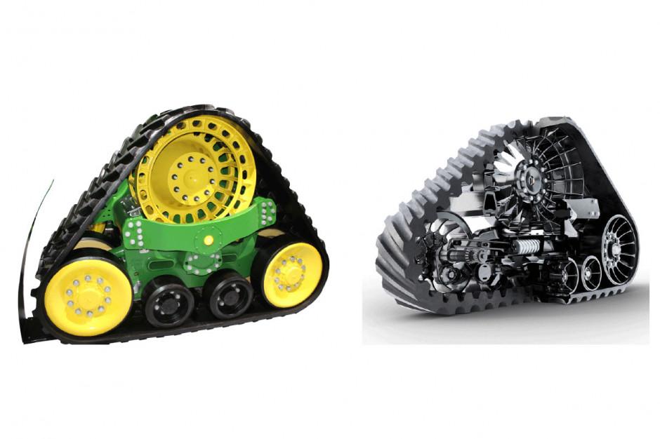 Wózki gąsienicowe ciągników: John Deere 9RX (zlewej)  iCase IH Quadtrac