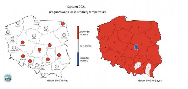 styczeń prognoza temperatury