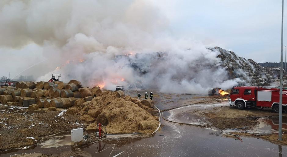 Piąty dzień strażacy gaszą pożar składowiska siana na Mazowszu