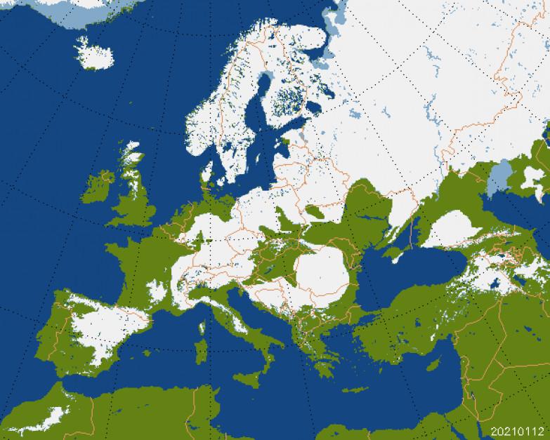 Pokrywa śnieżna. Dane za 12.01.2021. Źródło:zoz.cbk.waw.pl