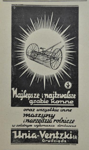 Reklama zgrabiarki konnej Unii, fot. arch. Farmera