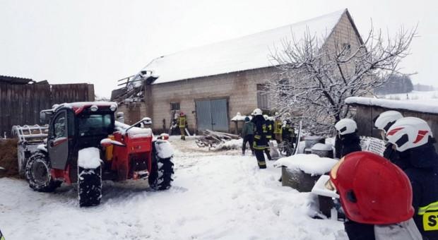 Zawalił się dach stodoły. Zagrożone bydło