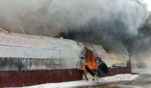 Do pożaru doszło w miniony poniedziałek w jednym z gospodarstw na Mazowszu, Fot. PSP Ostrów Maz.