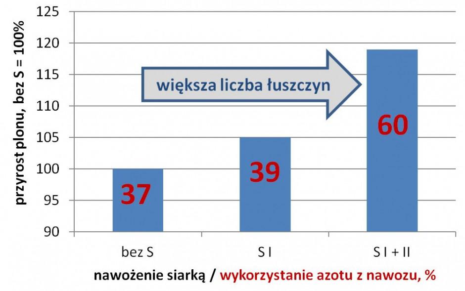 Wpływ dostępności siarki wokresie wegetacji rzepaku ozimego na plon iwykorzystanie azotu znawozów (SI – dobra dostępność przed kwitnieniem SI+II – dobra dostępność przed kwitnieniem ipóźniej opracowano na podstawie Potarzycki 2015)