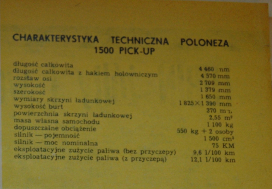 Polonez pick-up dane techniczne fot. archiwum Farmera