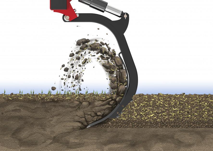 Kształt redlic MixIn  powoduje, że gleba jest intensywnie mieszana. Zdjęcie: Väderstad