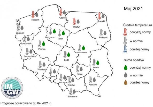 Prognoza średniej miesięcznej temperatury powietrza i miesięcznej sumy opadów atmosferycznych na maj 2021 r. dla wybranych miast w Polsce. Źródło: IMGW