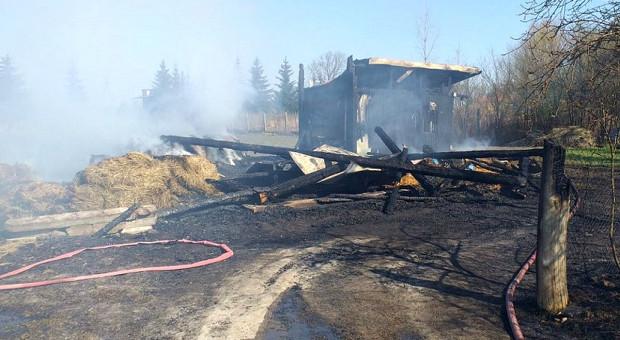 Zabawa dzieci zakończona pożarem stodoły i maszyn