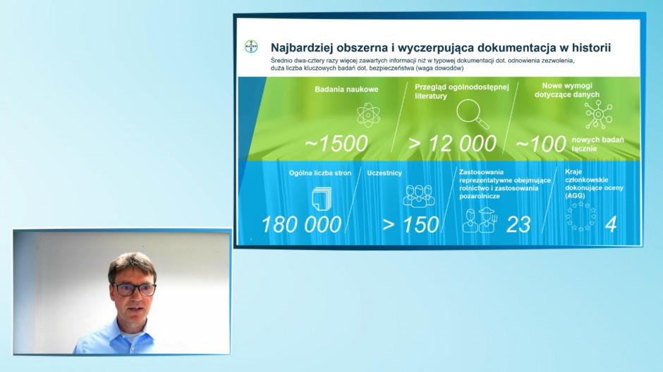 Dr Krystian Kather, kierownik do spraw glifosatu w UE, Dział regulacyjny, firma Bayer, podczas prezentacji aktualności na temat glifosatu w UE, przekonywał, że glifosat to najbardziej przebadana substancja czynna na świecie.