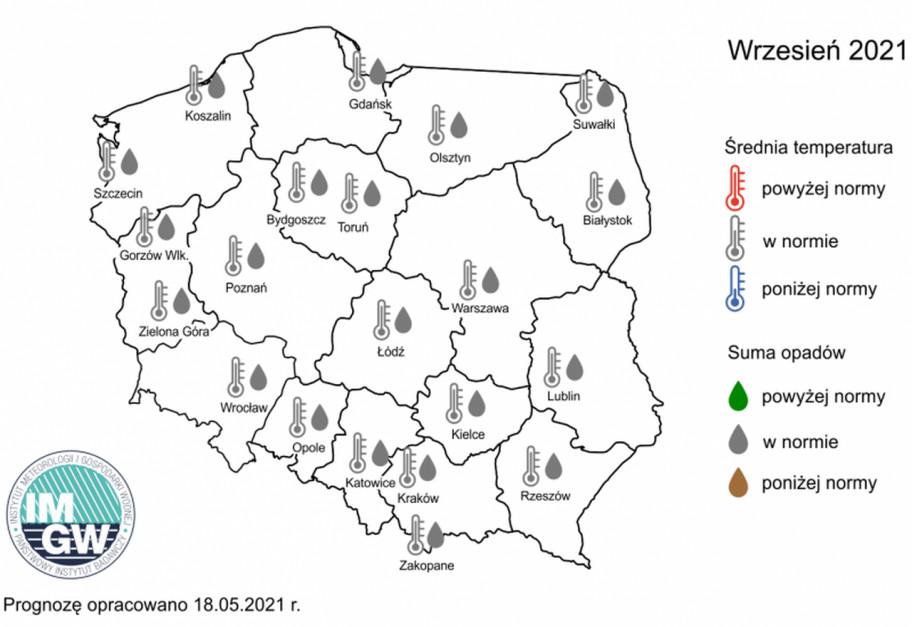 Rys. 3. Prognoza średniej miesięcznej temperatury powietrza i miesięcznej sumy opadów atmosferycznych na wrzesień 2021 r. dla wybranych miast w Polsce. Źróło: IMGW-PiB