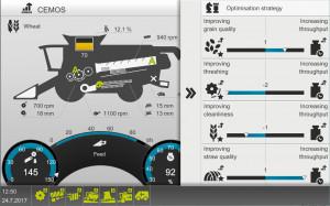 Elementy systemu CEMOS Automatic na wyświetlaczu kombajnu Claas Lexion. Widoczny jest wybór parametrów pozwalających zoptymalizować proces zbioru ziarna