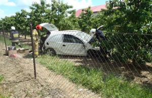 Auto wpadło do sadu i uderzyło w drzewo, Foto: KP PSP Sandomierz