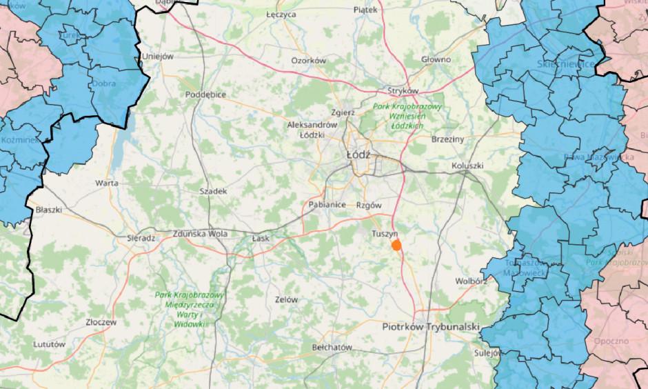 Przybliżona lokalizacja podejrzenia ogniska ASF, w stadzie świń.