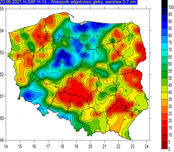 Źródło: IMGW wskaźnik wilgotności do 7 cm