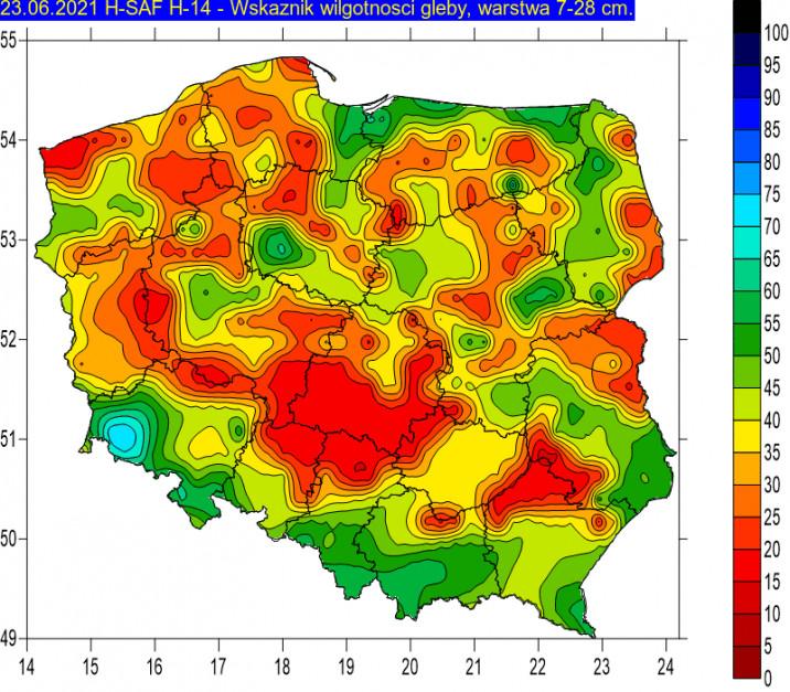 Źródło: IMGW wilgotność gleby od 7 do 28 cm