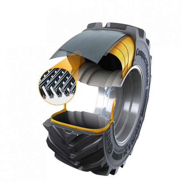 Opona CompactMaster AG korzysta z nowej warstwy bieżnika Turtle Shield i stalowego opasania, które zapewnia większą trwałość i stabilność podczas prac związanych z przenoszeniem materiałów. Zdjęcie: Continetal