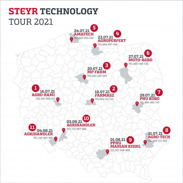 Mapa dat pokazów u dealerów. fot. Steyr