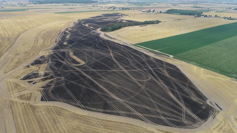 Pogorzelisko widziane z góry (zdjęcie wykonane dronem). / VH Polska