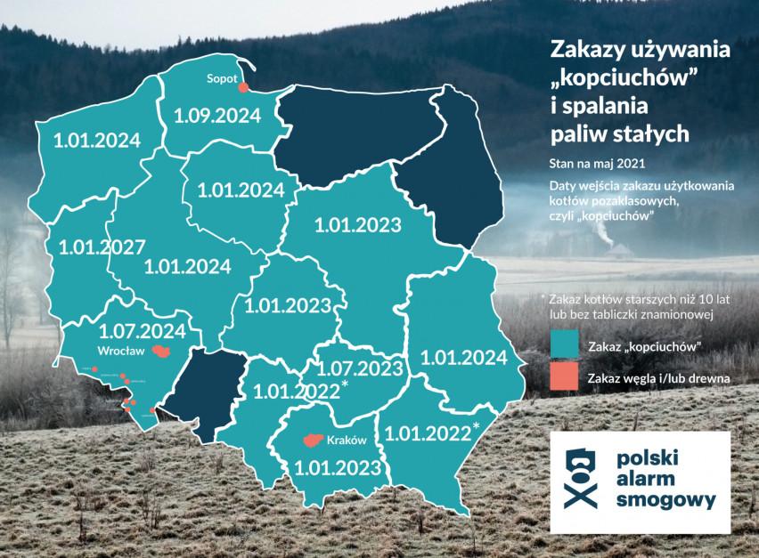 W jakich województwach wprowadzono uchwały antysmogowe zabraniające użycie kopciuchów i spalania paliw stałych? Źródło Polski Alarm Smogowy