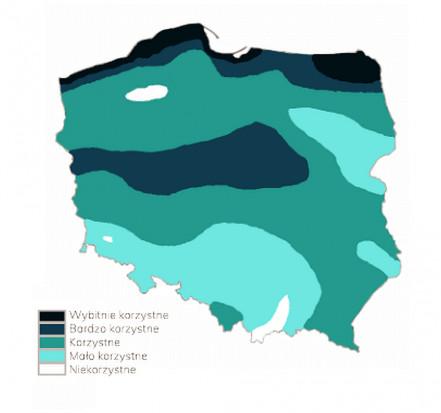 Najbardziej i najmniej korzystne obszary na inwestycje w mikroinstalacje wiatrowe. Źródło: Blue Watt