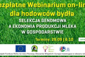 Webinarium online: Selekcja genomowa a ekonomia produkcji mleka w gospodarstwie